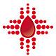 Bluttropfen - In Form eines medizinischen Kreuzes