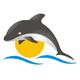 Delphin der über das Wasser springt