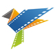Buntes Filmmaterial in Form eines origami Vogels