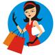 Hübsche Dame mit Einkaufstüten
