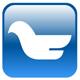 Abstrakter Vogel auf einem blauen Rechteck