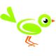 Grüner Vogel sitz auf der Wortmarke