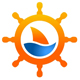 Schiffsteuer mit einem Boot auf dem Wasser