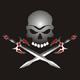 Piraten Logo - Totenkopf mit Schwertern