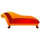Ein roter Chaiselongue