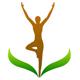 Yoga: Person auf einem Bein als Blüte eine Pflanze