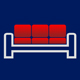 Sofa mit roten Kissen - Logo für Möbelshop
