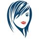 Trendige Frisur und rote Lippen - Logo für Friseur