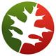 Ahornblatt auf einem Kreis mit zwei Farben