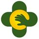 Grüner Kreuz mit einer helfenden Hand
