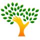 Hand in Form eines Baumes mit Blättern