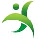 Grüne Person der aus zwei Blättern besteht