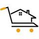 Homeshopping - Haus auf einem Einkaufswagen