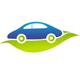 Öko Auto - Auto fährt auf einer grünen Blatt