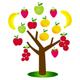 Baum mit bunten Früchten - Logo für Obsthändler