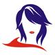 Moderne Frau mit rotem Schal und Lippen