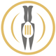 Teller mit zwei Messern und einem Löffel