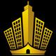 Goldene Hochhäuser auf einer Krone