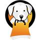 Logo für Tierhandlung - Süßer Hund mit einer Tüte