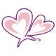 2 ineinader geschlungene Herzen als Schmetterling
