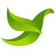 Stilisierte Taube aus grünen Blättern